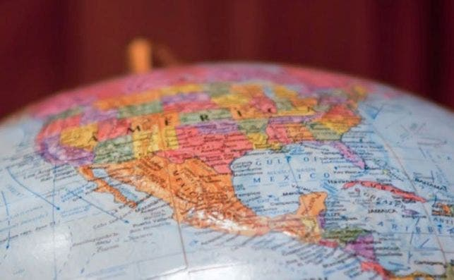 north america on globe