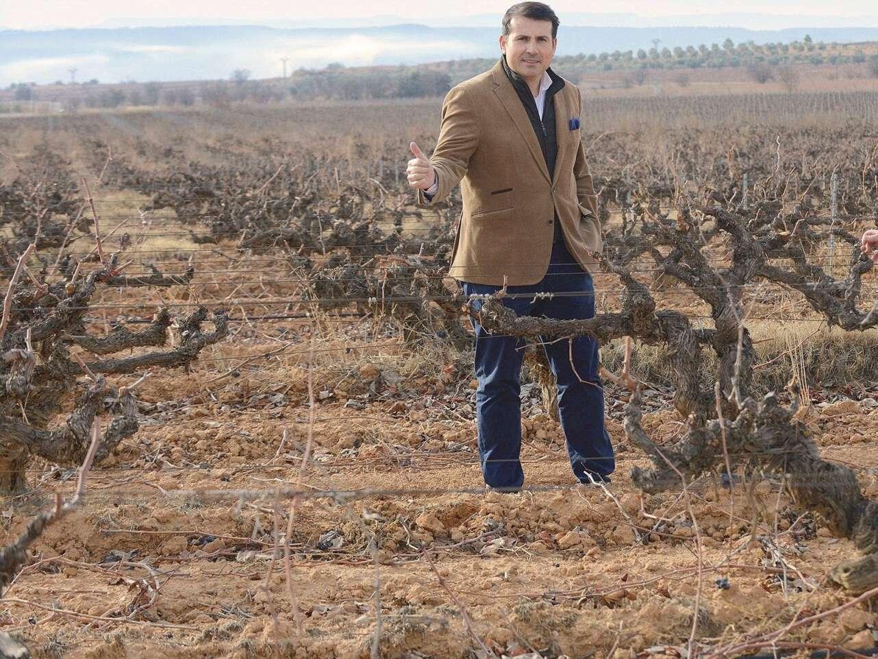 Pablo Ossorio en las viñas de Bodegas Hispano Suizas.