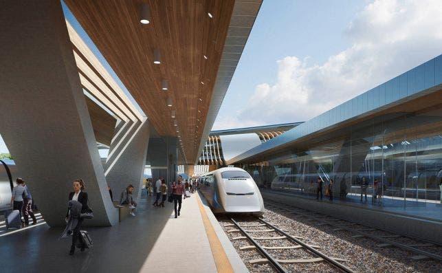 Rail baltica ulemiste terminal. Render Negativ
