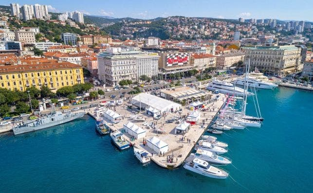 Rijeka Riva promenade aerial