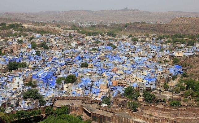 Vista aeÌrea de los barrios azules de Jodhpur. Foto: Pixabay.