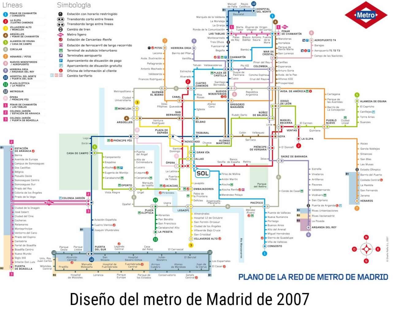 Madrid plano metro 2007