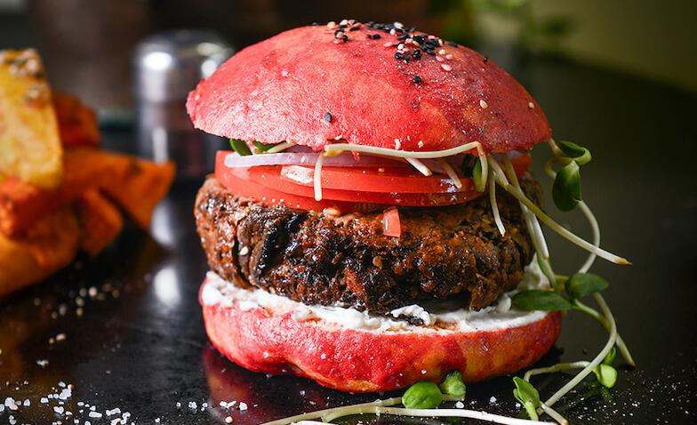 Hamburguesa vegana del Meshek Barzilay