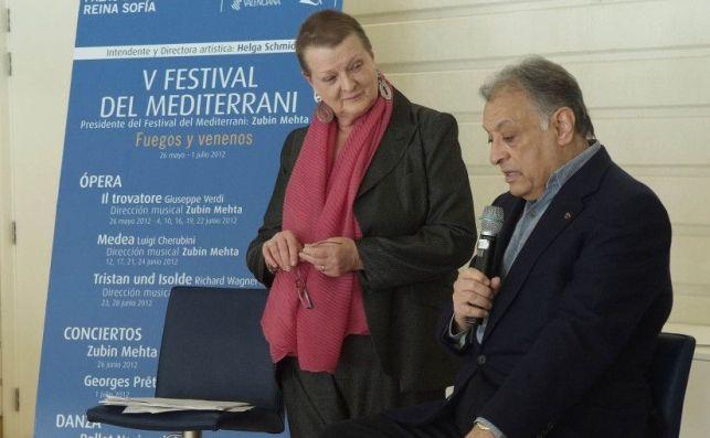 La fallecida intendente del Palau de Les Arts, Helga Schmidt, y el director de orquesta Zubin Mehta.