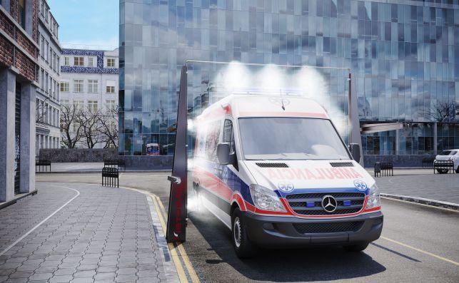 Arco de desinfección para el exterior de vehículos.