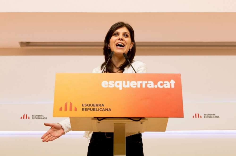 La portavoz de ERC, Marta Vilalta, en una rueda de prensa. EFE/Enric Fontcuberta