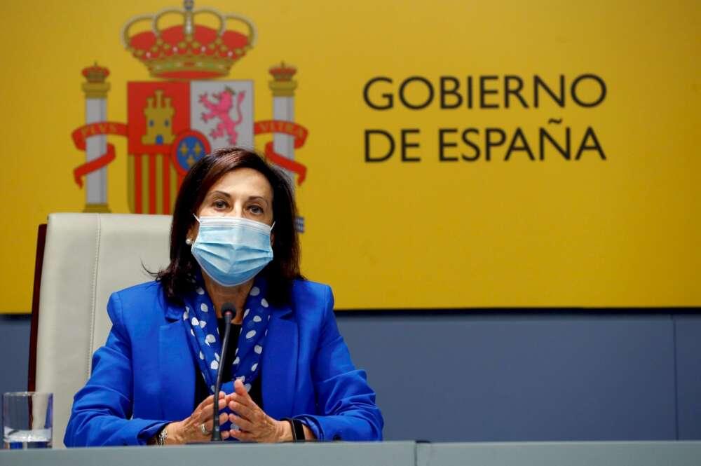 La ministra de Defensa, Margarita Robles, durante una rueda del prensa el 24 de septiembre de 2020 | EFE/Ballesteros/Archivo