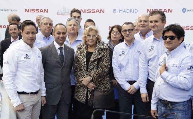 Jesús Ramos Fernández (izquierda) en la presentación de un acuerdo entre Nissan, Ciudad del Taxi y el Ayuntamiento de Madrid. Foto cedida