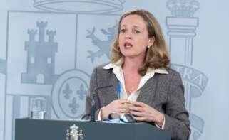 La vicepresidenta primera del Gobierno, Nadia Calviño, en la Moncloa.