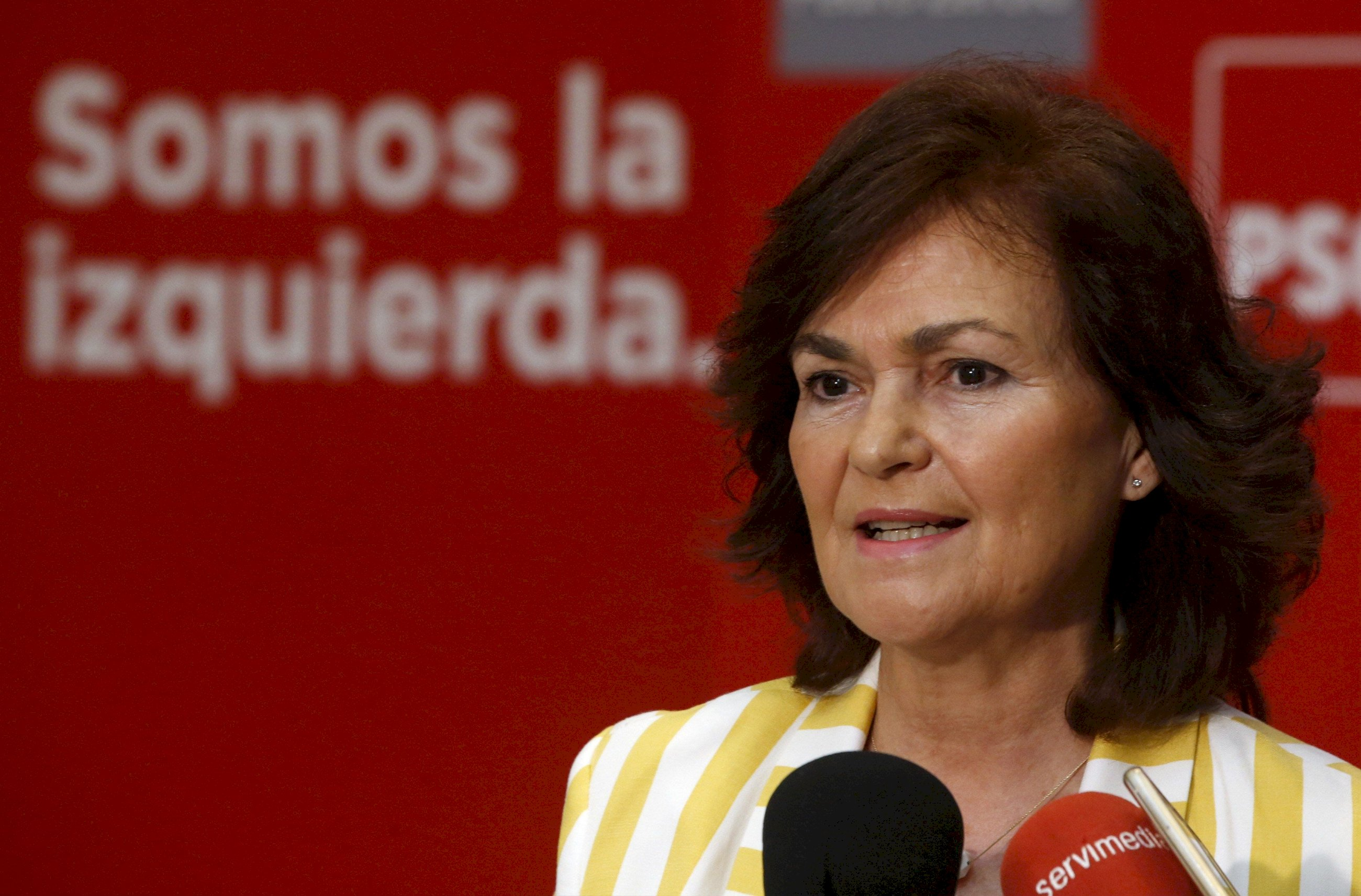La ex vicepresidenta Carmen Calvo se postula como presidenta del PSOE. Foto: EFE