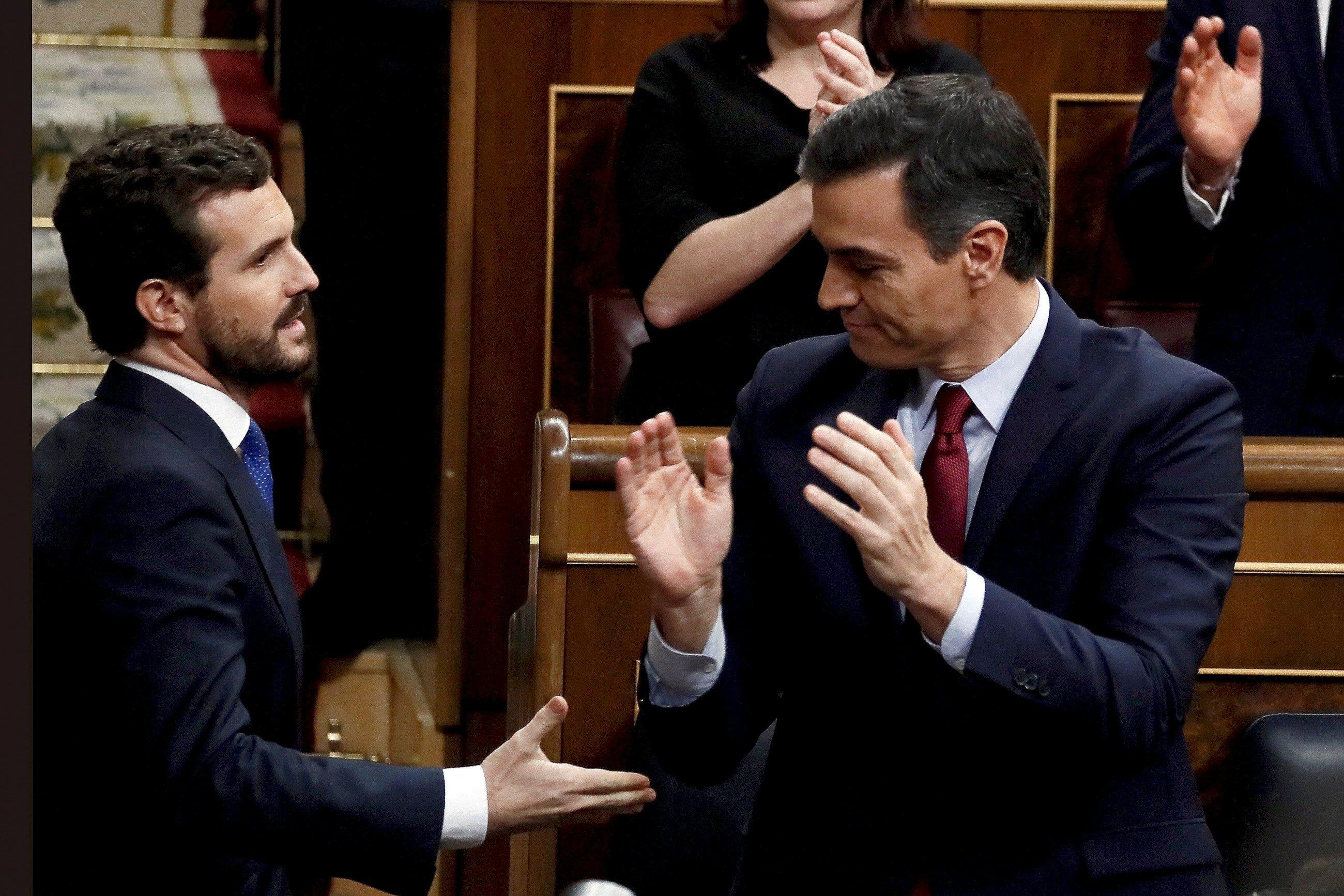 Imagen de archivo de Pedro Sánchez y Pablo Casado./ EFE