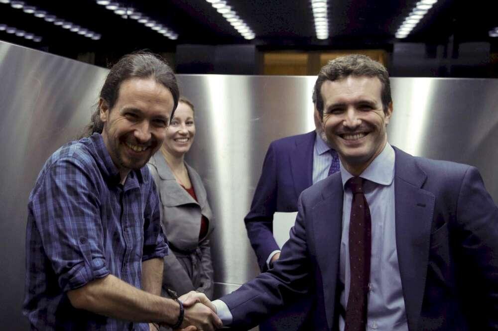 Los líderes de Podemos, Pablo Iglesias, y el PP, Pablo Casado, en una imagen de archivo. EFE/Paco Campos