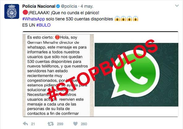 Mensaje de la Policía contra el bulo de Whatsapp