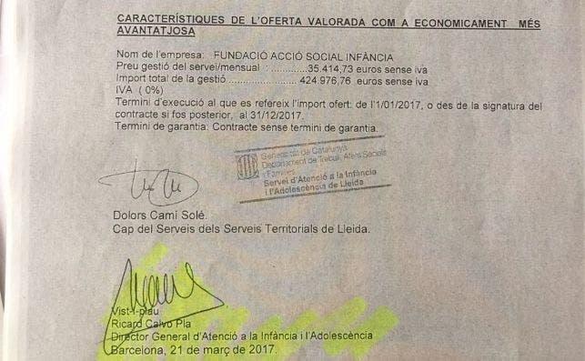 El documento firmado por Ricard Calvo sobre la fundación FASI que exhibe Ciudadanos.