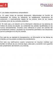 Acuerdo PSOE-Podemos sobre la regularización del precio del alquiler.
