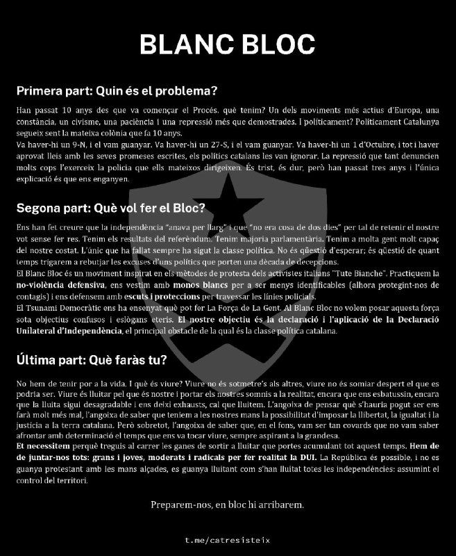 Carta de presentación del grupo radical independentista Blanc Bloc, difundida en Telegram en abril de 2020