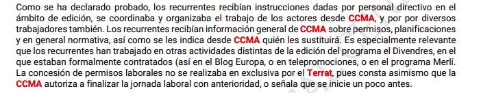 Fragmento de la sentencia contra la CCMA y El Terrat.