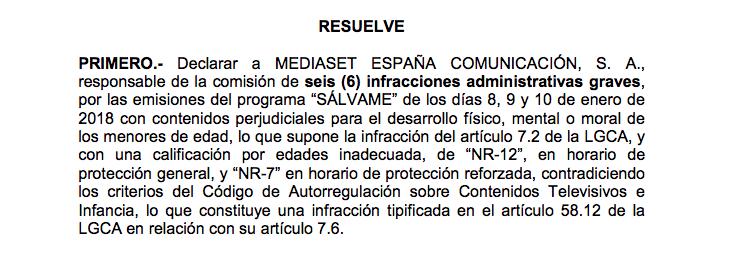 Sanción por contenido a Mediaset. CNMC