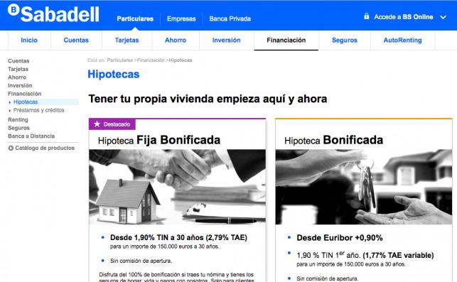 Captura de pantalla de las ofertas de hipotecas de Banc Sabadell
