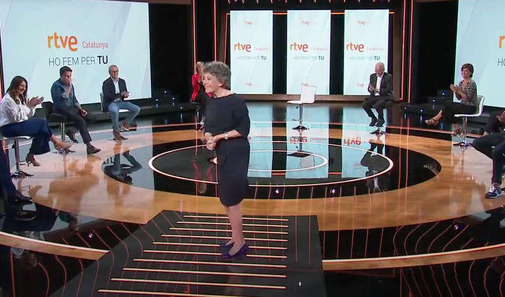 La administradora provisional única de RTVE, Rosa María Mateo, en la presentación de la nueva temporada de la cadena en Cataluña, el 9 de septiembre de 2020 | RTVE