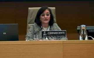 La presidenta de la Autoridad Independiente de Responsabilidad Fiscal (AIReF), Cristina Herrero, durante su comparecencia en la Comisión de Hacienda del Congreso. EFE/ Fernando Villar POOL