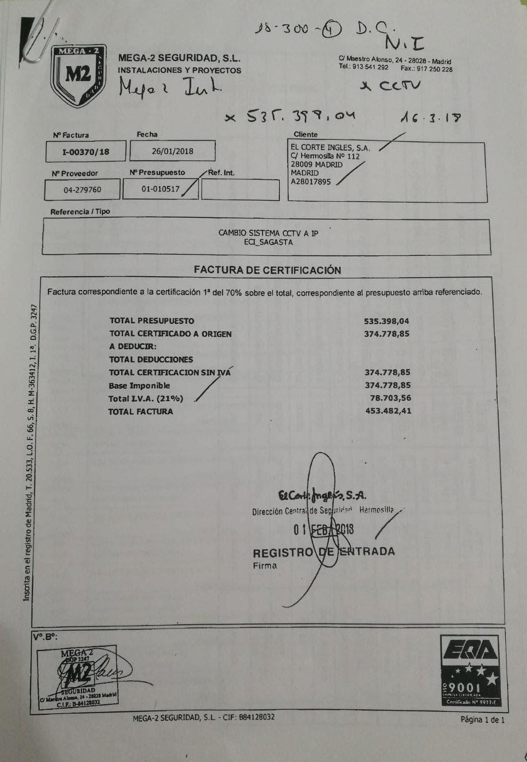 El contrato de El Corte Inglés con Mega 2 en el centro comercial de Sagasta.