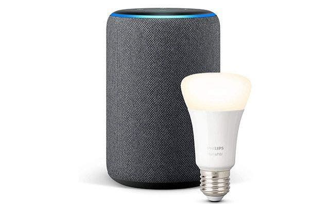 Altavoz inteligente Echo Plus de Amazon con bombilla LED inteligente de Philips