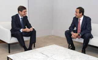 El presidente de Bankia, José Ignacio Goirigolzarri, y el consejero delegado de Caixabank, Gonzalo Gortázar