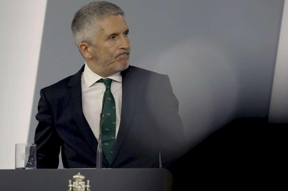 El ministro del Interior, Fernando Grande-Marlaska, comparece en rueda de prensa. EFE/ Ballesteros