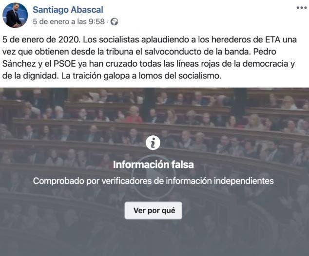La publicación de Santiago Abascal bloqueada por Facebook.