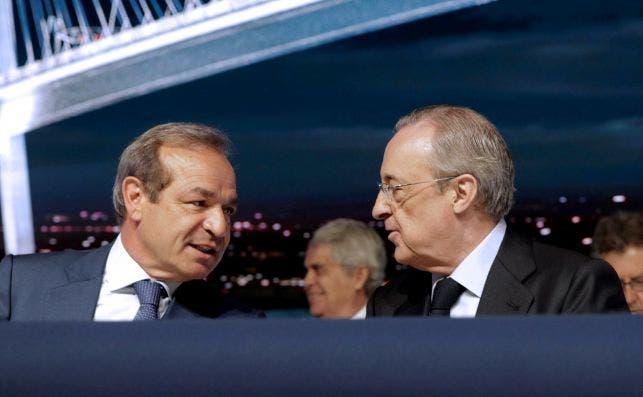 Marcelino Fernandez Verdes, presidente de Abertis, y Florentino Pérez, presidente de ACS, en la última junta de la constructora