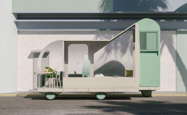 """El """"hotel sobre ruedas"""" de Ikea. Foto: Space10"""