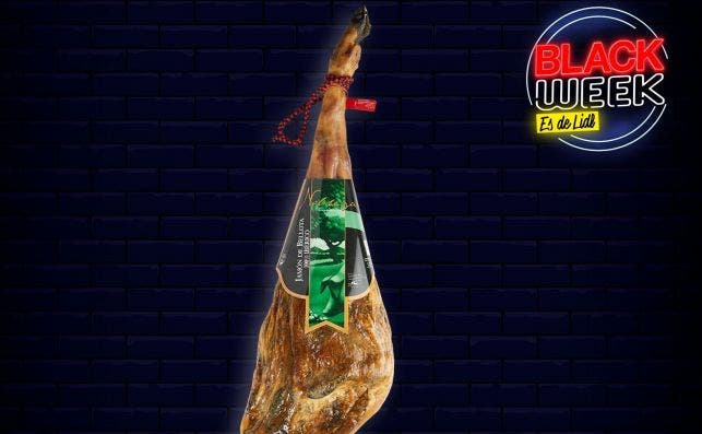 Publicidad engañosa de Lidl para la semana del Black Friday: la brida y el etiquetado del jamón ibérico en la imagen no se corresponden