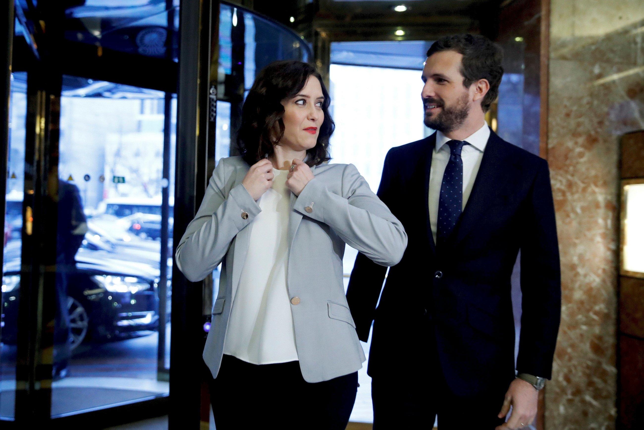 La presidenta de la Comunidad de Madrid, Isabel Díaz Ayuso, junto al líder del PP, Pablo Casado. EFE