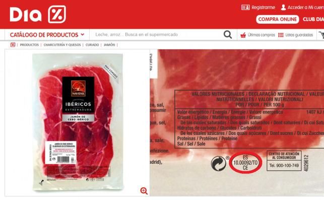 """Izquierda: Jamón de cebo ibérico Navidul con la leyenda """"elaborado en Extremadura"""" / Derecha: Marcado en rojo, el óvalo sanitario del establecimiento de Toledo en el que fue manipulado el jamón"""