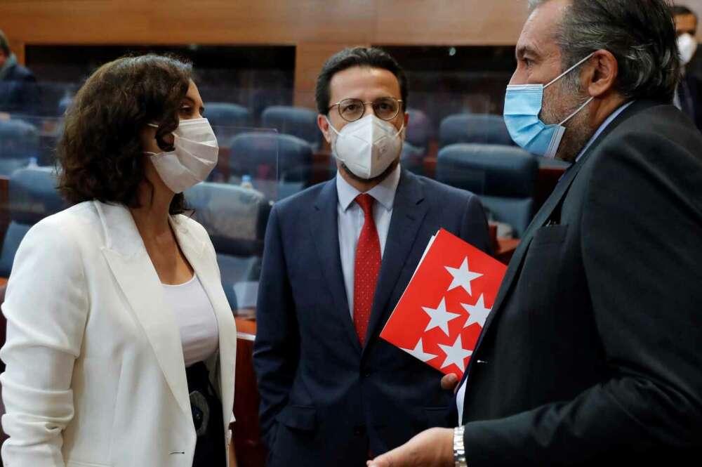Isabel Díaz Ayuso, Javier Fernández-Lasquetty y Enrique López./ EFE