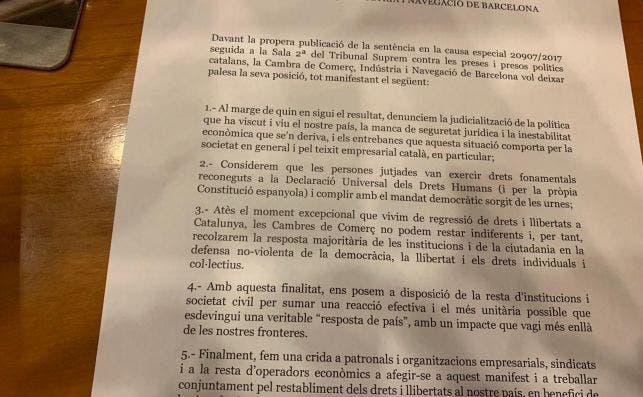 El manifiesto de la Cámara de Barcelona sobre la sentencia del juicio del procés en apoyo a las movilizaciones.