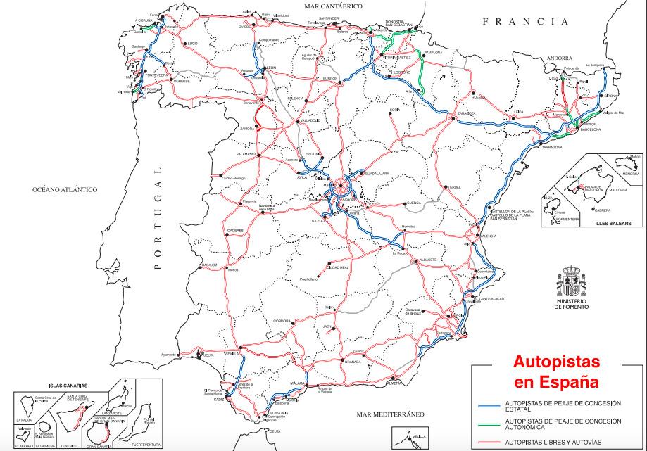 Mapa de las autopistas de España. Fuente: Ministerio de Fomento