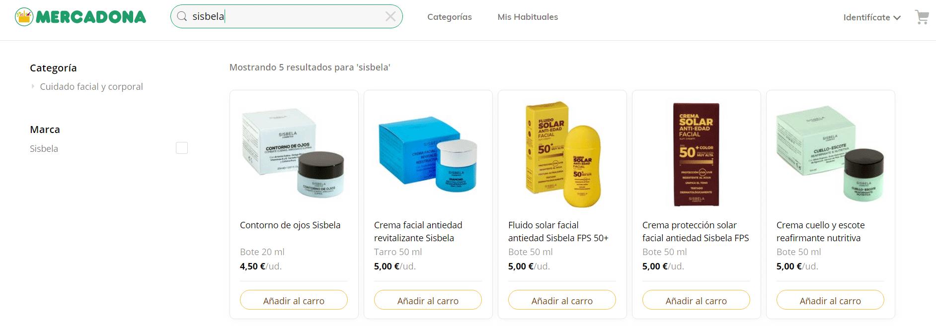 Cremas de Mercadona.