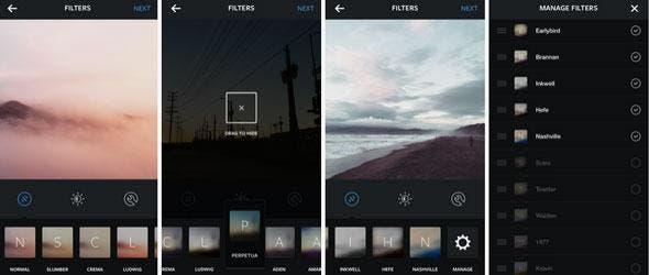 Nueva organización de los filtros de Instagram