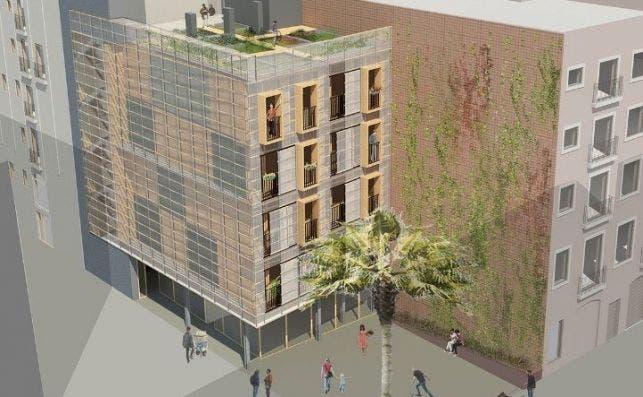 Recreación de los pisos prefabricados del programa Aprop. Imagen: Ayuntamiento de Barcelona.