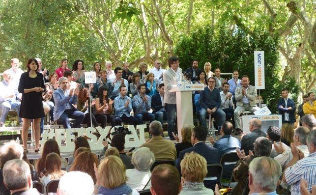 El expresidente catalán, Carles Puigdemont, en un acto de campaña de la extinta Convergència Democràtica / Julio Díaz (CDC)