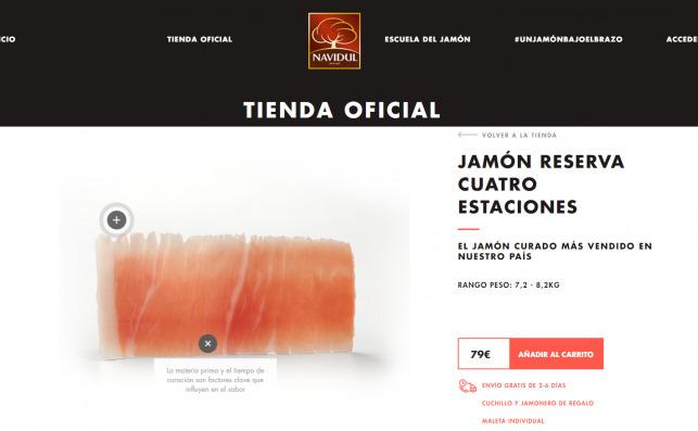 El jamón Cuatro Estaciones en la web de Navidul, que ensalza el origen de la carne como característica fundamental de un buen producto curado