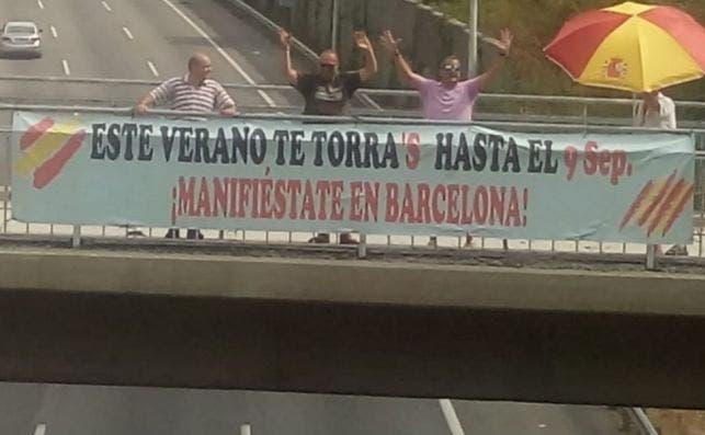 Pancarta para anunciar la manifestación del 9 de septiembre en Barcelona.