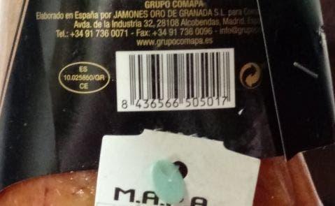 La matrícula del secadero último que manipuló el jamón Trevedul de Comapa, que dirige a un polígono en Otura