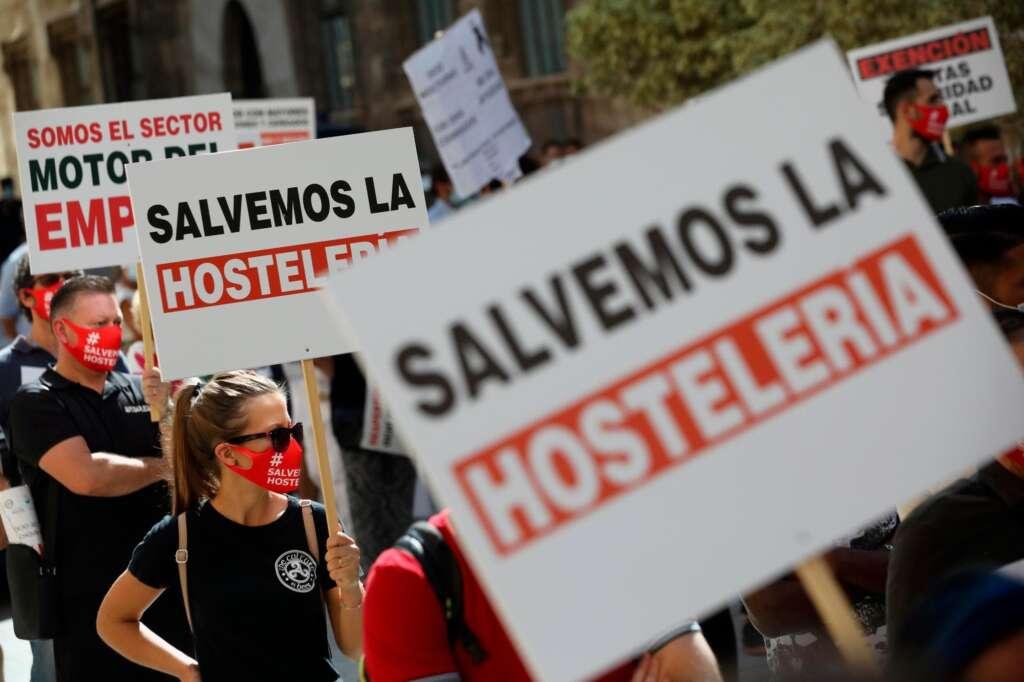 La Hostelería de España se manifiesta contra las restricciones sanitarias del Gobierno./ EFE