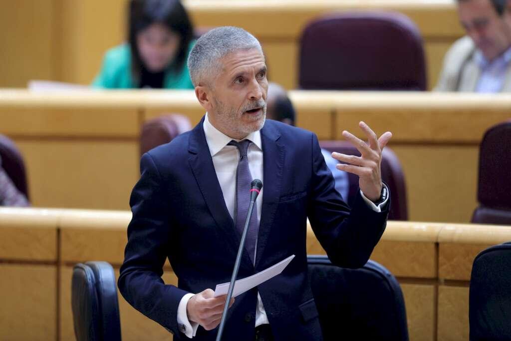 El ministro del Interior, Fernando Grande-Marlaska, durante su intervención en la sesión de control celebrada el 16 de junio de 2020 en el Senado   EFE/JM/Archivo