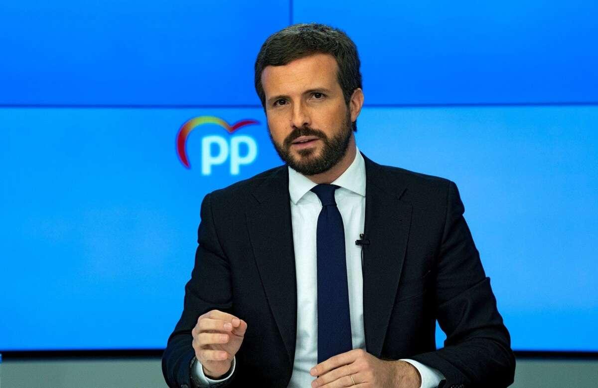Pablo Casado, durante la rueda de prensa que ofreció este lunes al término del comité de dirección del PP