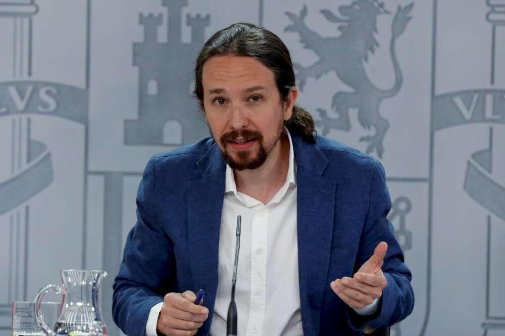 El ahora exvicepresidente segundo del Gobierno y líder de Podemos, Pablo Iglesias, en una rueda de prensa en La Moncloa   EFE/JJG/Archivo