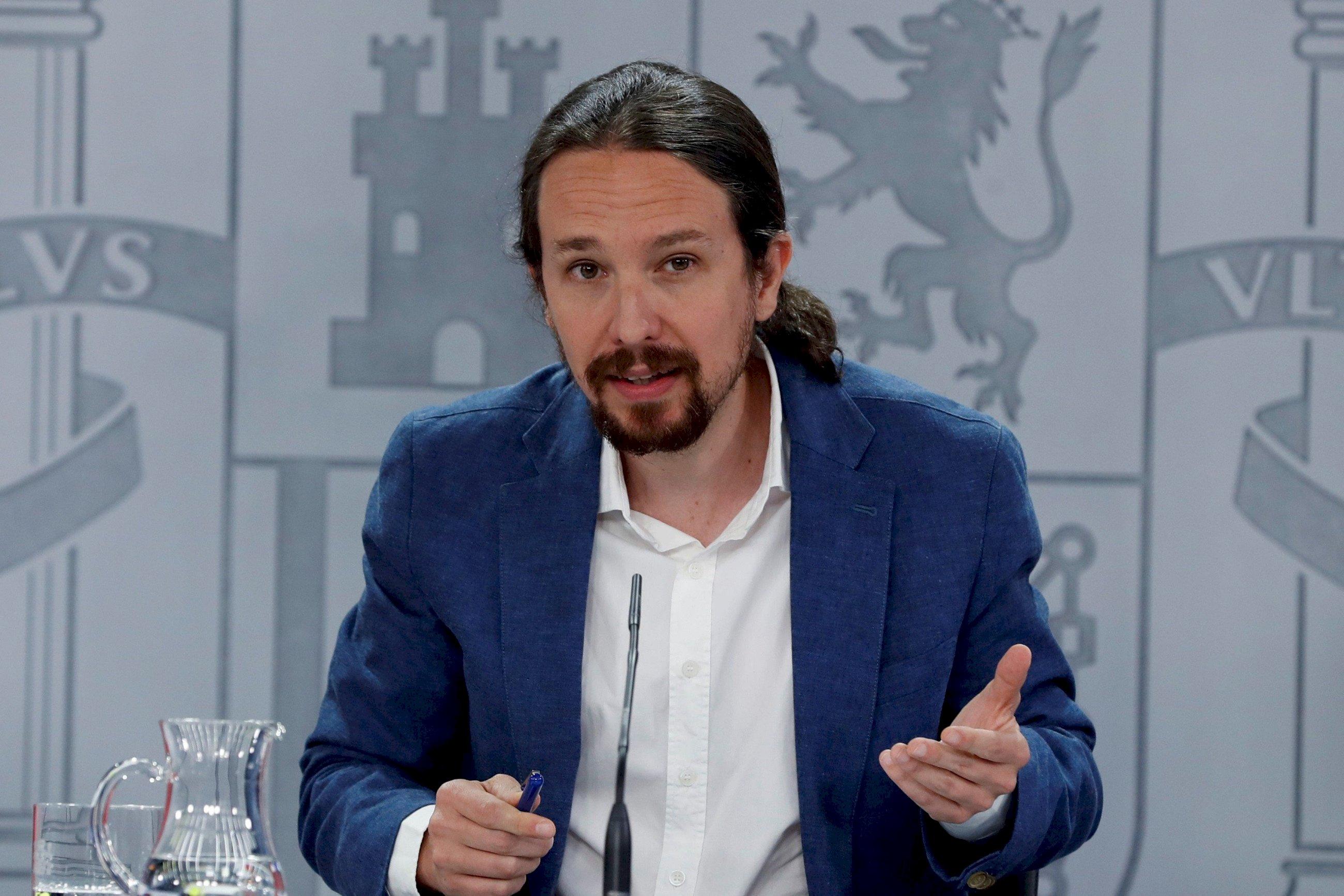 El ahora exvicepresidente segundo del Gobierno y líder de Podemos, Pablo Iglesias, en una rueda de prensa en La Moncloa | EFE/JJG/Archivo